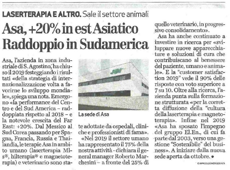 Giornale di Vicenza - Fatturato ASA 2019