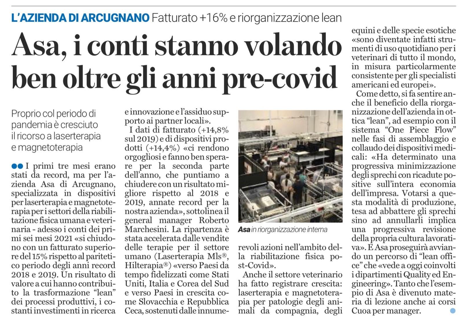 ASA sul Giornale di Vicenza - Fatturato e produzione record 2021