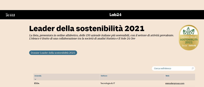 El.En tra i leader sostenibilità 2021